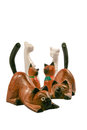 Miniature Wooden Cat Figurine Royalty Free Stock Photo