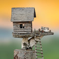 Miniature wooden house with stair Royalty Free Stock Image