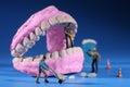 Miniature Workers Performing Dental Procedures. Dental Office Ar