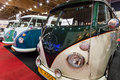 Minibuses Volkswagen Type 2 standing in a row. Royalty Free Stock Photo