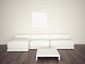 Minimal blank interior couch