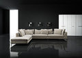 Minimal contemporary elegant living room with beige sofa on black tiles Stock Photos