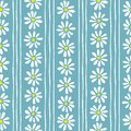 Minimal cute hand-painted daisies and stripes on teal background vector seamless patters. Spring summer floral print