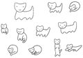 Minimal funny kittens coloring page