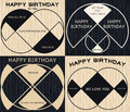 Minimal geometric vintage happy birthday badge on wooden backgro Royalty Free Stock Photo