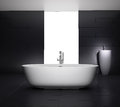 Minimal grey bathroom with jacuzzi bathtub dark Royalty Free Stock Images