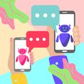 minimal hands holding mobile phones with chat ai bot message notifications on pastel colored blue and pink background. Text robot