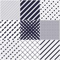 Minimal lines seamless patterns set, abstract backgrounds Royalty Free Stock Photo