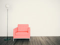 Minimal modern interior armchair FACE A BLANK WALL Stock Photos