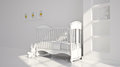 Minimal modern interior of nursery b w in white tones Royalty Free Stock Image
