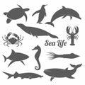 Minimal sea animals vector illustration