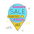 Minimal style flat trendy bubble shaped banner, price tag, stick