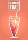 Minimal Summer Cocktail Flyer - Vector Illustration