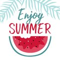 Minimal summer illustration with slice watermelon and lettering.