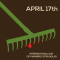 Minimal vector concept for international day of farmers struggles with rake and blood Royalty Free Stock Image