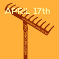 Minimal vector concept for international day of farmers struggles with text through rake Royalty Free Stock Photo