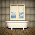 Minimalist bathtub in a retro bathroom Stock Photography