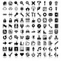 Minimalist icon set of general vector symbols includes teddy bear old school game controller film reel early style movie camera Royalty Free Stock Photos