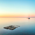 Minimalist Seascape. Coastal Sunrise. Royalty Free Stock Photo