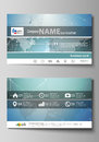 The minimalistic abstract vector illustration of the editable layout of two creative business cards design templates