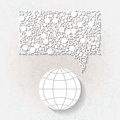 Minimalistic background with earth planet white origami paper speech bubble eps Stock Photos