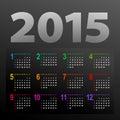 Minimalistic calendar multicolor design week starts with sunday Royalty Free Stock Photo