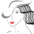 Minimalistic girl with a hat portrait of is featured in illustration Royalty Free Stock Images