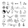 Minimalistic tattoos vector set. Royalty Free Stock Photo
