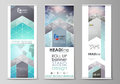 The minimalistic vector illustration of editable layout of roll up banner stands, vertical flyers, flags design business