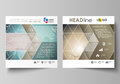 The minimalistic vector illustration of the editable layout of two square format covers design templates for brochure