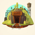 Mining cartoon illustration concept with retro wooden mine entrance with railway vector Stock Images