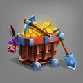 Mining concept bacground. Mine trolley with golden ore, shovel and pickaxe.