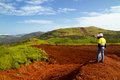 Mining construction workers on mountain top in Sierra Leone Royalty Free Stock Photo