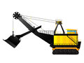 Mining excavator large build against white background Royalty Free Stock Images
