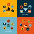 Mining icons flat composition