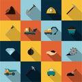 Mining Icons Set Flat