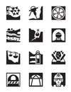 Mining and quarrying industry icon set vector illustration Stock Image