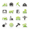 Mining and quarrying industry icons vector icon set Stock Image
