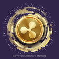 Mining Ripple Cryptocurrency Vector. Golden Coin, Digital Stream.