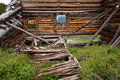 Mining ruins old collapsed boston building along the mayflower gulch trail in colorado Stock Image