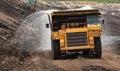 Mining truck unload coal big Stock Photography