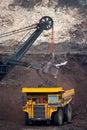 Mining truck unload coal big Royalty Free Stock Photos