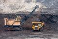 Mining truck unload coal big Royalty Free Stock Photography