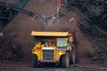 Mining truck unload coal big Stock Photo