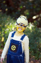Minion cute little girl wearing homemade dress up costume of a character despicable me movie september Royalty Free Stock Photography