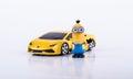 Minion with Yellow Lamborghini Royalty Free Stock Photo