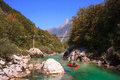 Minirafting on the soca river slovenia in summer Royalty Free Stock Images