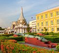 Ministry of defence building bangkok and museum old cannon in front the the thailand on sanamchai road Royalty Free Stock Photography