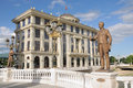 Ministry of foreign affairs in skopje landmarks and public buildings and grigor prlichev monument Stock Image