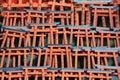 Miniture torii gates at shrine fushimi inari kyoto Stock Photo